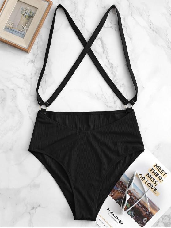 outfits ZAFUL Ribbed O-ring Cross Suspender Bikini Bottom - BLACK M