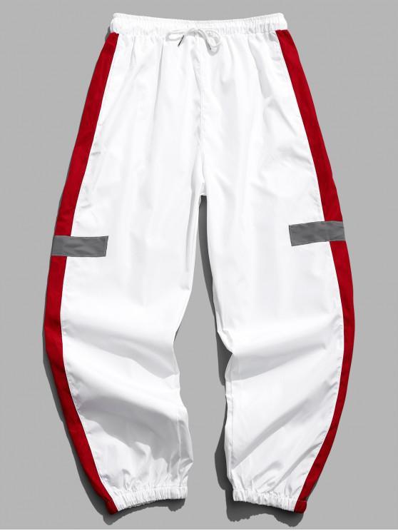 lady Colorblocking Spliced Drawstring Jogger Pants - WHITE L
