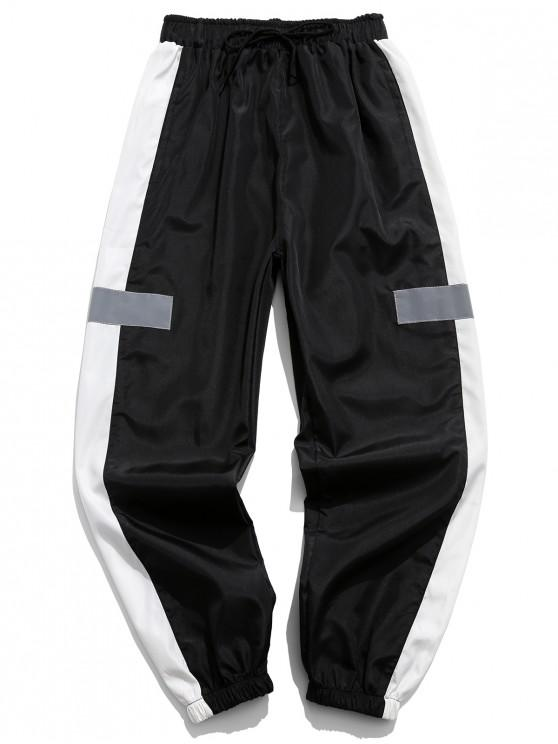 womens Colorblocking Spliced Drawstring Jogger Pants - BLACK S