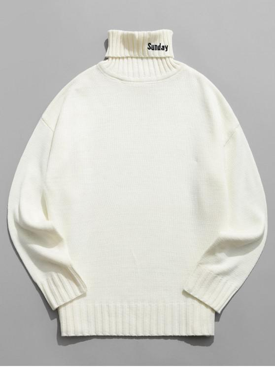 outfit Turtleneck Letter Embroidery Drop Shoulder Sweater - WHITE L