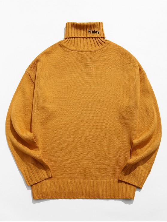 latest Turtleneck Letter Embroidery Drop Shoulder Sweater - LIGHT BROWN XL