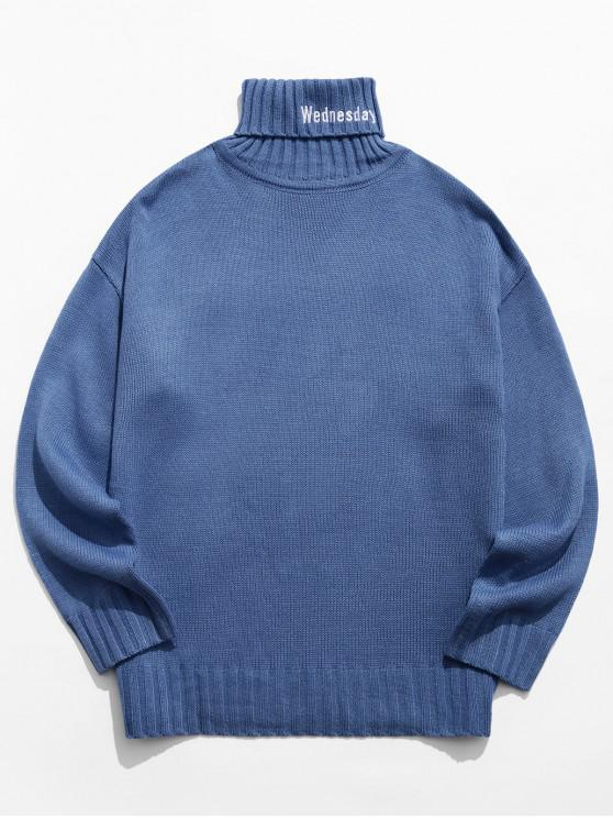 hot Turtleneck Letter Embroidery Drop Shoulder Sweater - BLUE GRAY M