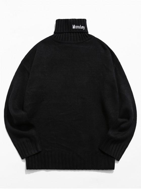 trendy Turtleneck Letter Embroidery Drop Shoulder Sweater - BLACK M