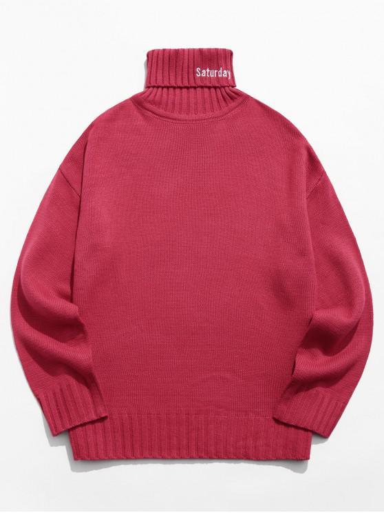 women's Turtleneck Letter Embroidery Drop Shoulder Sweater - RED L
