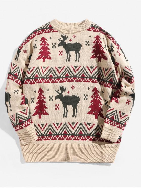 trendy Christmas Wapiti Pattern Knitted Sweater - WARM WHITE 3XL