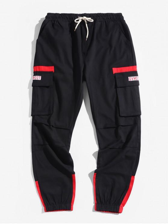 women Color Spliced Pocket Design Casual Jogger Pants - RED S