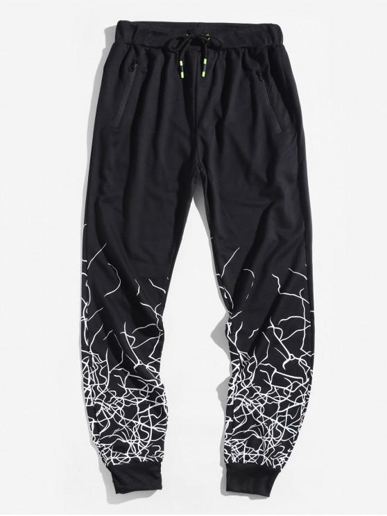 fancy Marble Grain Print Sport Drawstring Jogger Pants - BLACK XL