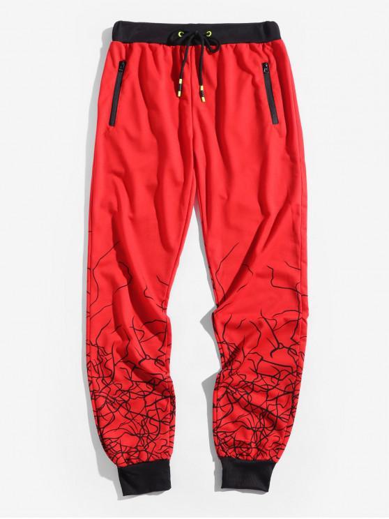 chic Marble Grain Print Sport Drawstring Jogger Pants - LAVA RED XL