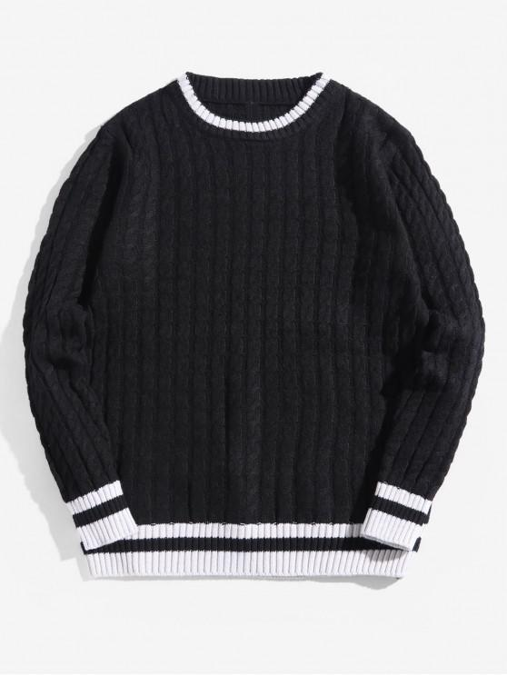 best Colorblock Stripes Cable Knit Pullover Sweater - BLACK XS