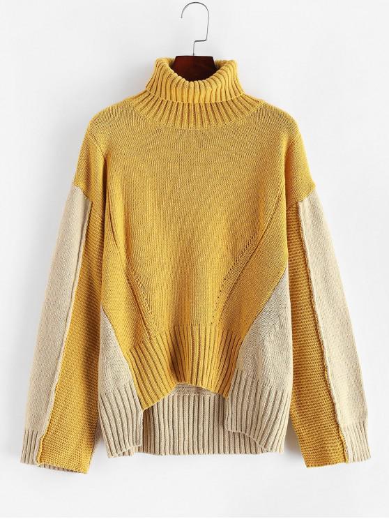 shop ZAFUL Colorblock Turtleneck Drop Shoulder High Low Sweater - MULTI ONE SIZE