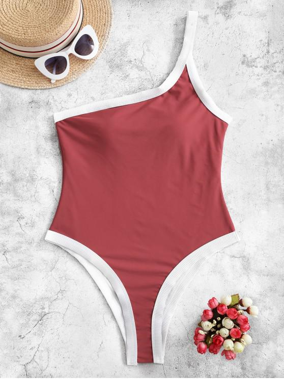 affordable ZAFUL Ribbed Trim One Shoulder One-piece Swimsuit - CHERRY RED M