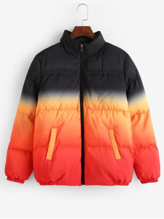 chic Ombre Print Stand Collar Zip Up Puffer Jacket - PUMPKIN ORANGE XS