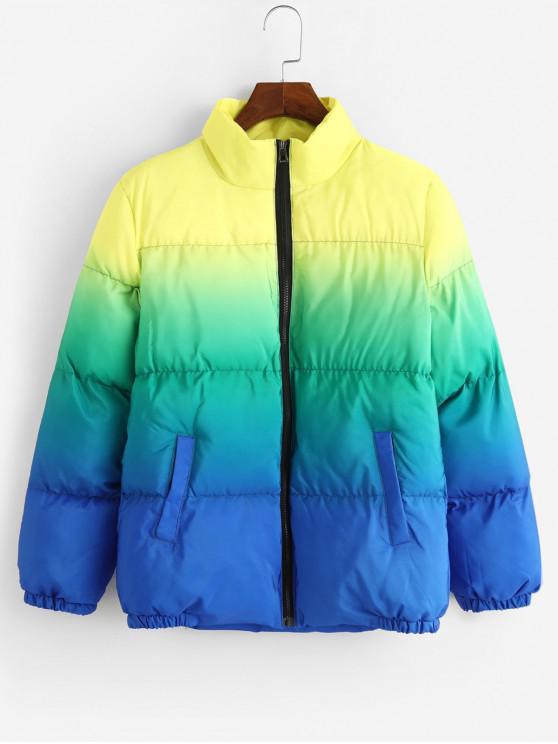 women Ombre Print Stand Collar Zip Up Puffer Jacket - BLUE XL