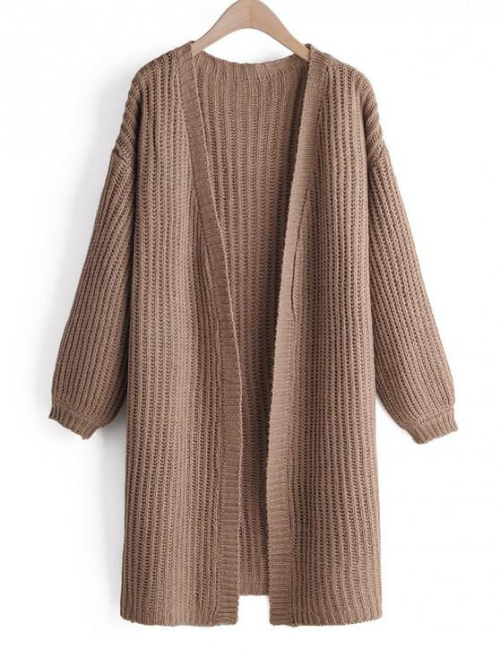 new Solid Plain Longline Open Front Cardigan - CAMEL BROWN ONE SIZE