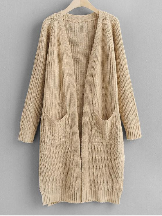 chic Longline Slit Dual Pocket Open Front Cardigan - BLANCHED ALMOND ONE SIZE