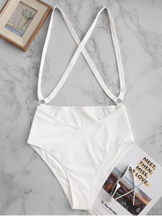 new ZAFUL Ribbed O-ring Cross Suspender Bikini Bottom - WHITE L