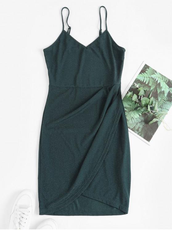 ZAFUL Ками С блестками Тюльпан Портьера Платье - Темно-зеленый  S