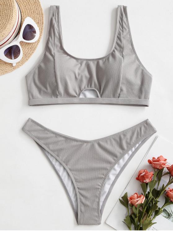 hot ZAFUL Ribbed Keyhole Tank Bikini Swimsuit - GRAY CLOUD L