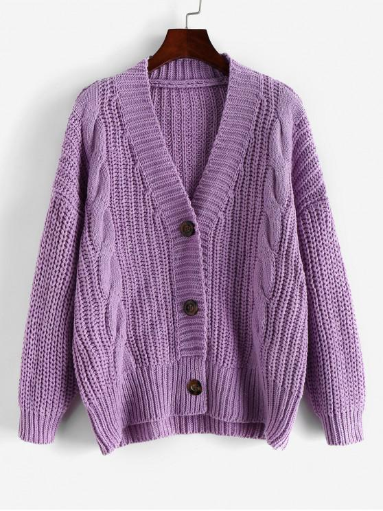 outfits ZAFUL X Luna Montana Button Front Chunky Cable Knit Cardigan - LILAC ONE SIZE
