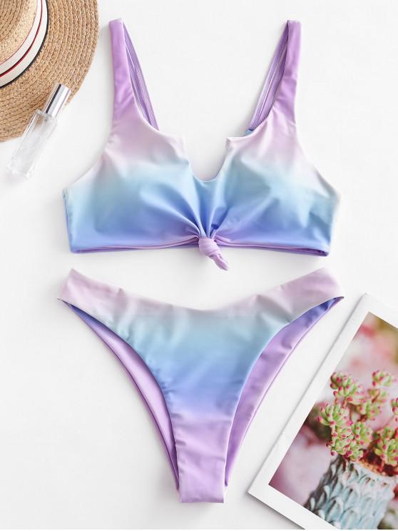 trendy ZAFUL Plunge Ombre Knot High Cut Bikini Swimsuit - MULTI-A M