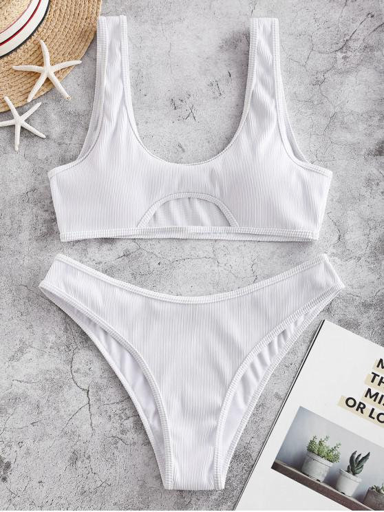 chic ZAFUL Cutout Textured Ribbed Bikini Swimsuit - WHITE S