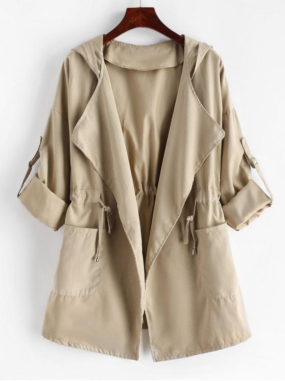 trendy Dual Pockets Solid Hooded Open Coat - LIGHT KHAKI M