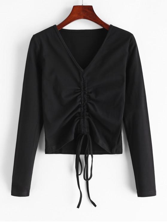 sale Cinched V Neck Long Sleeve T-shirt - BLACK L