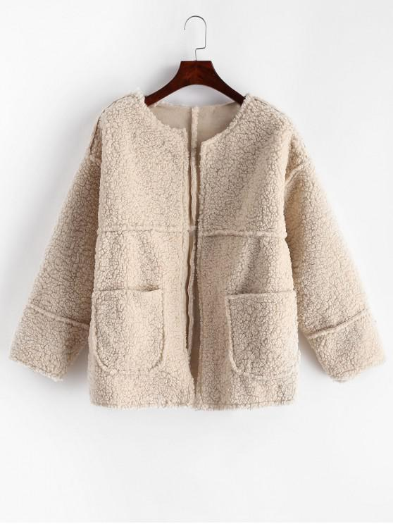 new Dual Pockets Solid Teddy Jacket - WARM WHITE S