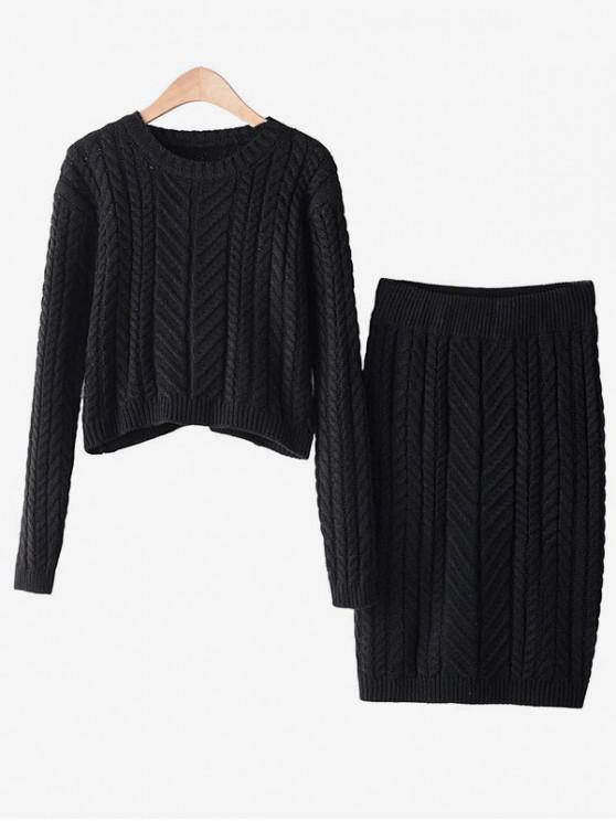 shops Two Piece Cable Knit Cropped Sweater And Skirt Set - BLACK ONE SIZE