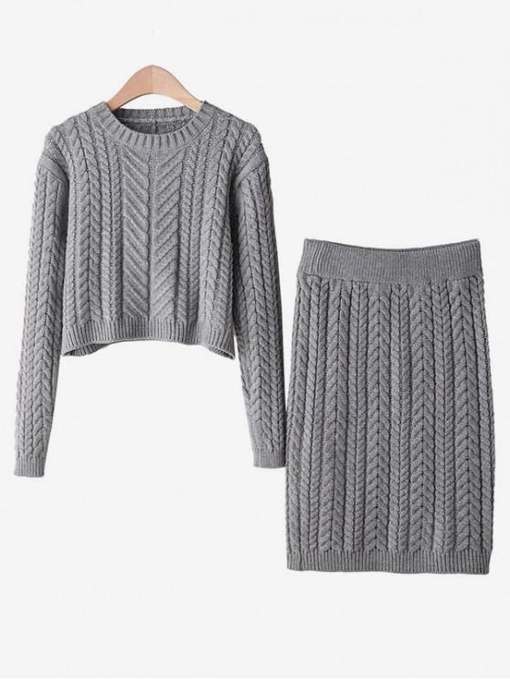 Zweiteiliges Kabel Strick Zugeschnittes Sweatshirt und Rock Set - Grau Eine Größe
