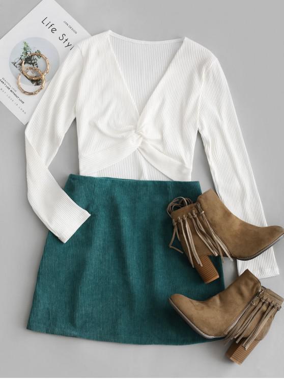 fashion Twist Front Crop Corduroy Skirt Set - WHITE S