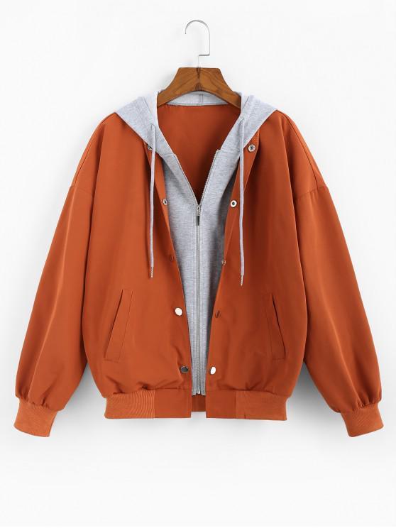 ZAFUL Цветной блок Как из двух частей С капюшоном Куртка - Лосось-оранжевый цвет M