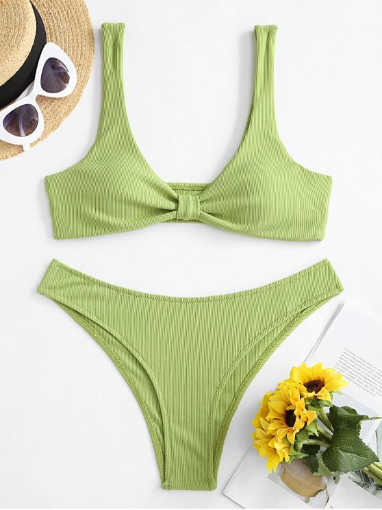 lady ZAFUL Knotted Ribbed Plunging Bikini Swimwear - PISTACHIO GREEN L