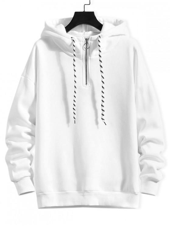 lady Solid Ring Vent Zip Drawstring Fleece Hoodie - WHITE XL