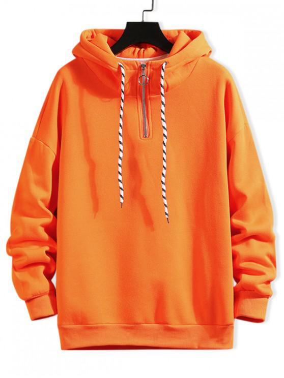 buy Solid Ring Vent Zip Drawstring Fleece Hoodie - PAPAYA ORANGE XL