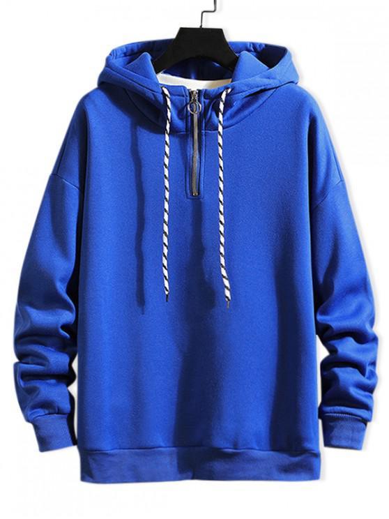 chic Solid Ring Vent Zip Drawstring Fleece Hoodie - COBALT BLUE XL