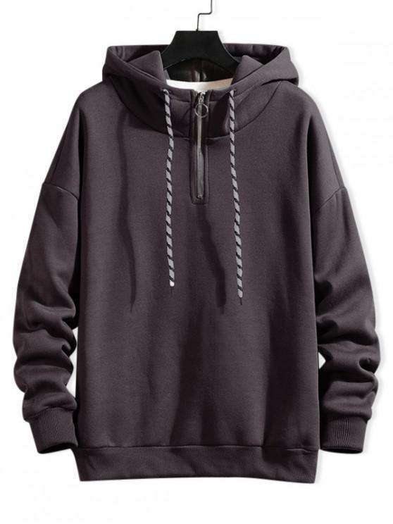 hot Solid Ring Vent Zip Drawstring Fleece Hoodie - GRAY 3XL