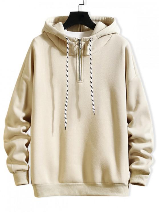 affordable Solid Ring Vent Zip Drawstring Fleece Hoodie - BEIGE L