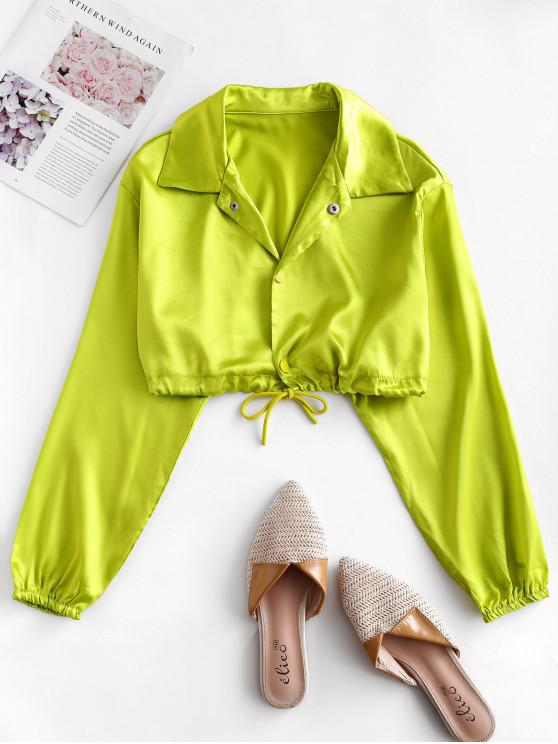 sale Drawstring Buttons Neon Crop Shirt - GREEN S