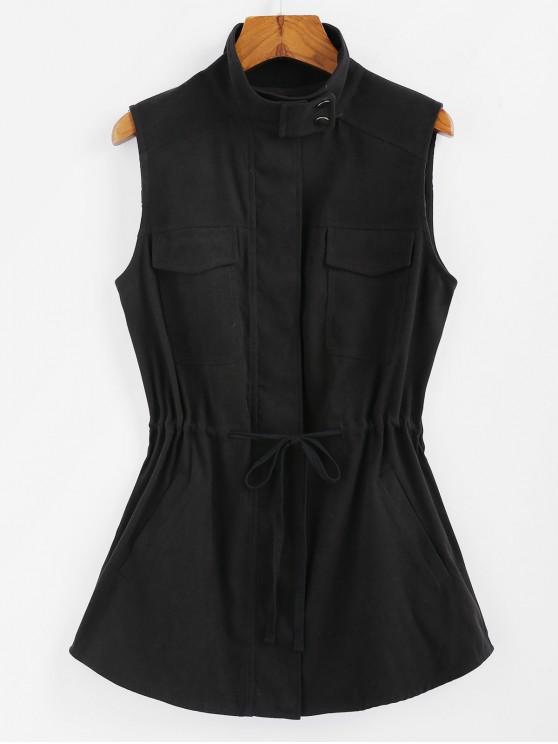 ZAFUL Талия со шнуровкой Передние карманы Жилет - Чёрный S