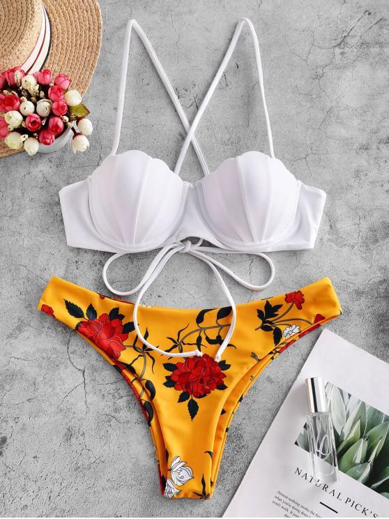 ZAFUL Maillot de Bain Bikini Sirène Fleuri à Lacets - Jaune Clair M