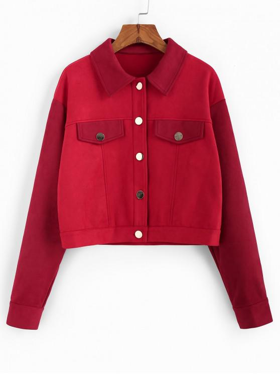 womens ZAFUL Colorblock Drop Shoulder Button Up Jacket - ROSE RED M