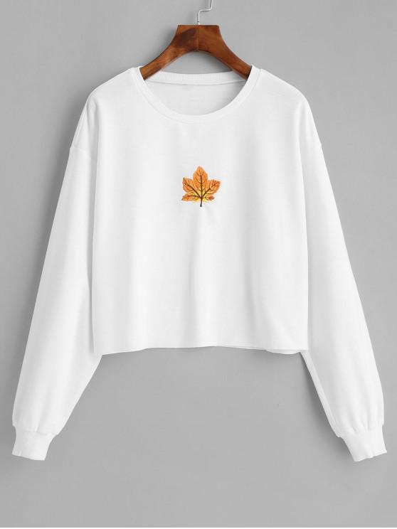 ZAFUL Sweat-shirt Feuille d'Erable Brodée à Ourlet Brut - Blanc M