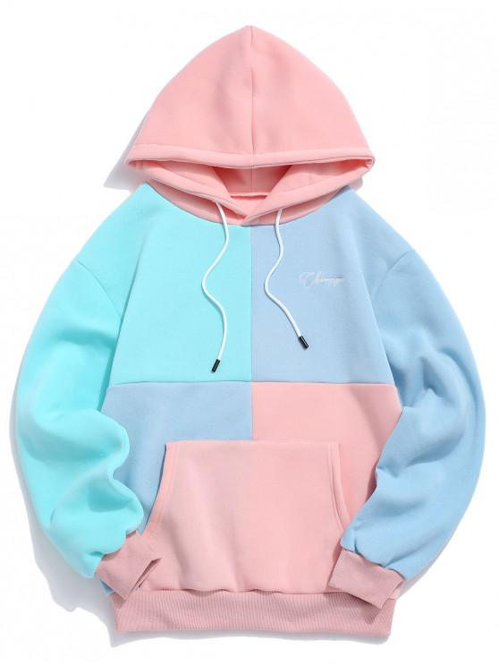 women Casual Color Spliced Pouch Pocket Hoodie - PINK M