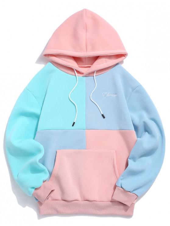 カジュアル色のスプライスポーチポケットパーカー - ピンク XL