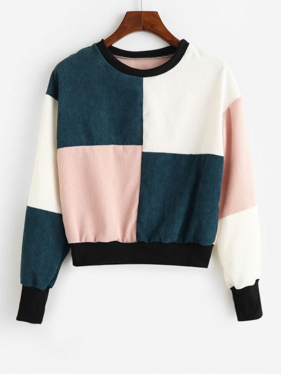 ZAFUL picătură Umăr colorblock Corduroy Sweatshirt - Multi L