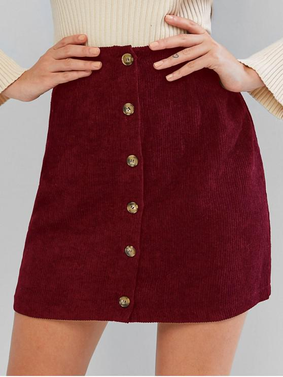 women ZAFUL Corduroy Button Fly High Rise Skirt - RED WINE M