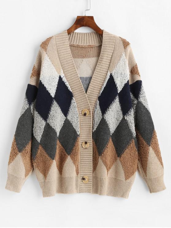 fancy Button Up Geometric Intarsia Knit Cardigan - MULTI-A ONE SIZE