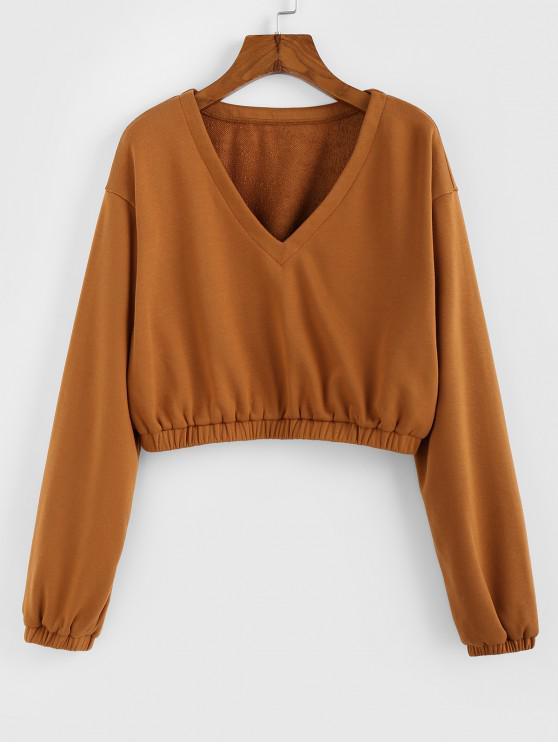 fancy ZAFUL V Neck Cropped Sweatshirt - CARAMEL L