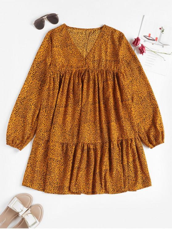 fashion Ditsy Print Smocked V Neck Peasant Dress - YELLOW XL